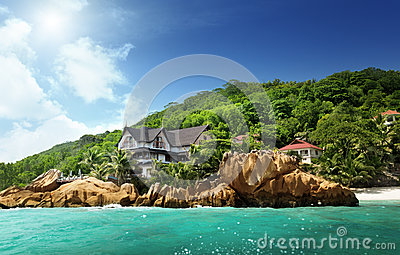 Hotel on tropical beach, La Digue