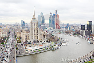 Hotel Ukraine and Moscow City business complex