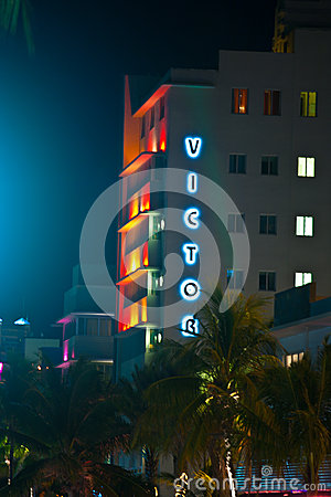 Hotel Victor at the Ocean Drive in Miami Beach at night Editorial Photo