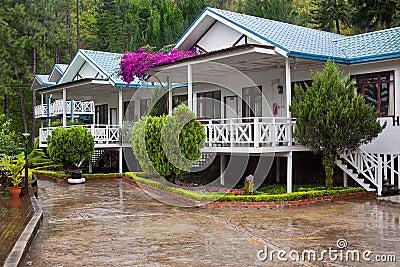 Hotel villas under rain