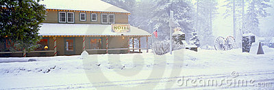 hotel in winter snowstorm Editorial Stock Photo