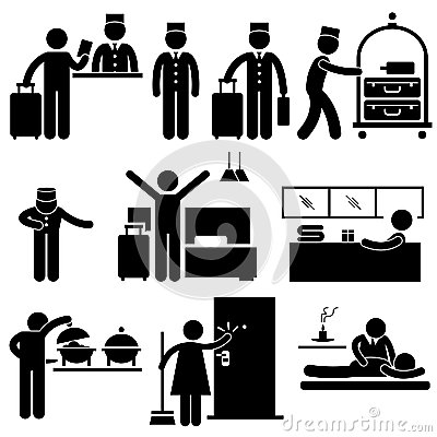Hotel Workers and Services Pictogram