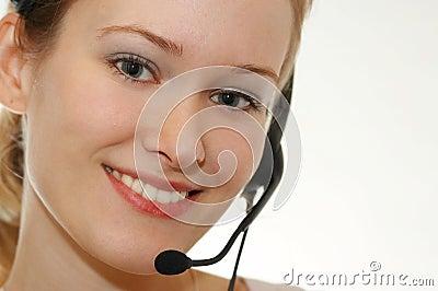 Hotline girl smiling