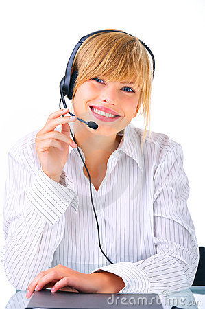 Hotline operator with headset