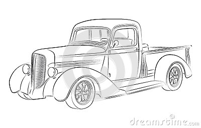 Stock Photos Hotrod Pickup Drawing Oldschool Image32022223 on old chevy trucks