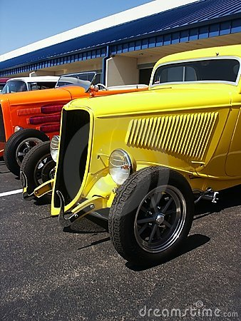 Hotrods at a Car Show