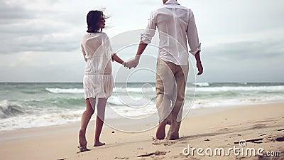 Houdend van paar op strand in langzame motie
