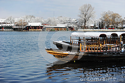 Houhai lake after snow