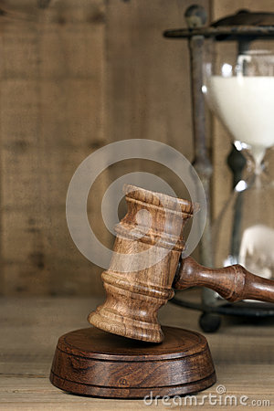 Hour Glass and Gavel with Grunge Effects