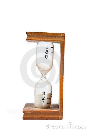 Hourglass with minute markings isolated