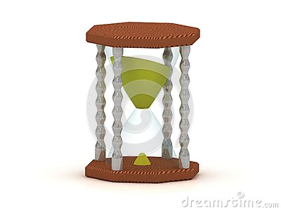 Hourglass, sand clock 3d illustration