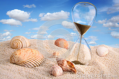 Hourglass in the sand with  sky