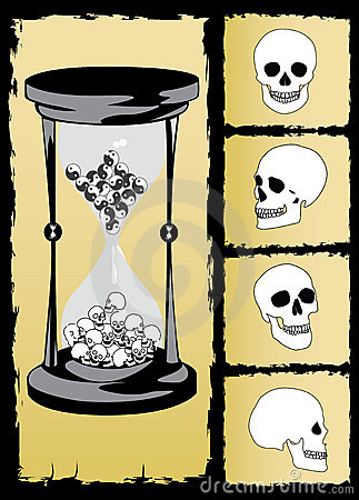 hourglass and skull vector