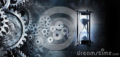 Hourglass Time Cogs Gears Business Background Stock Photo