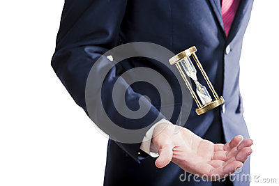 Hourglass, time concept with businessman