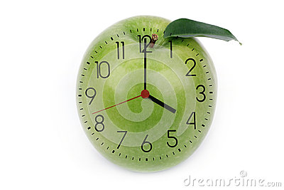 Hours against green apple