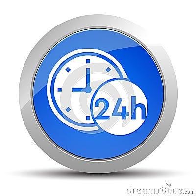 24 hours clock icon blue round button illustration Cartoon Illustration