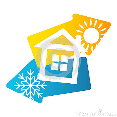 House air conditioning and ventilation Vector Illustration