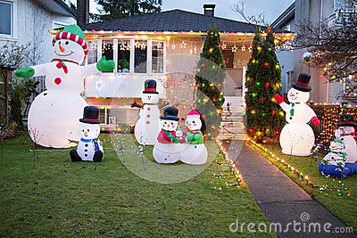 House all decked out for christmas with snowmen
