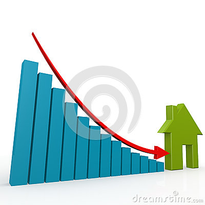 Free House And Arrow Go Down Royalty Free Stock Photo - 56891095