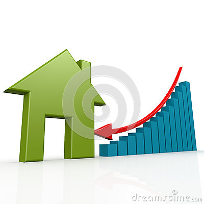 Free House And Arrow Go Down Stock Image - 58544461