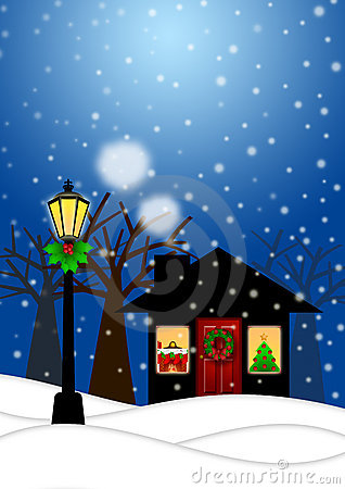 Free House And Lamp Post In Winter Christmas Scene Stock Photos - 22421963