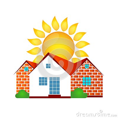 Free House And Sun Stock Photo - 114693810