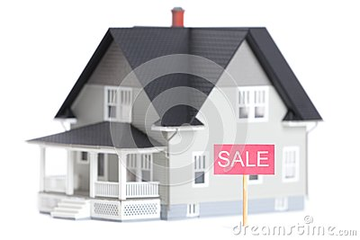 House architectural model with sale sign,