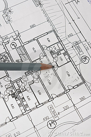 Free House Architecture Plan And Pencil On Paper Stock Photography - 12954432
