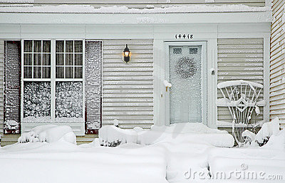 House During Big Snowstorm