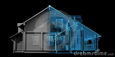 House - blue and black isolated on bla