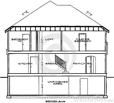 A One Color Vector Illustration Of A Three Level House Blueprint That Has Each Room Labeled