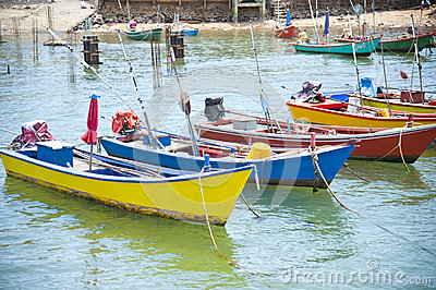 House and boat at Kho Lan, Pattaya, Thailand.