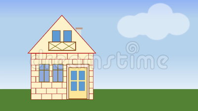House Building Animated House Construction In Countryside