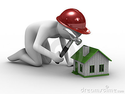 House building on white background