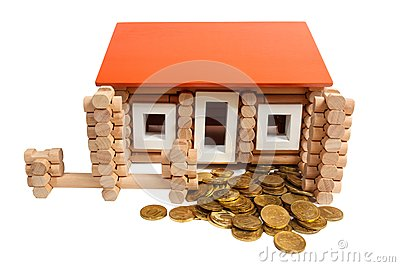 A house built of coins isolated