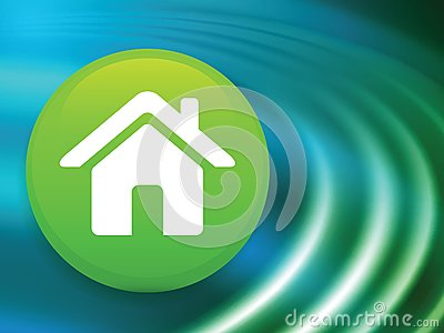 House Button on Abstract Liquid Wave Background