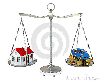 House and car with the coins on the scale
