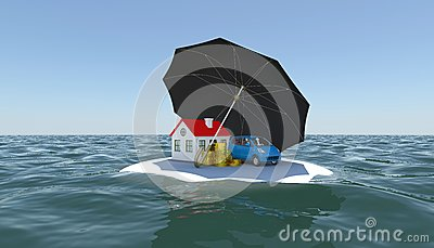 House, Car And Money Covered With An Umbrella Royalty Free Stock Image - Image: 25611766