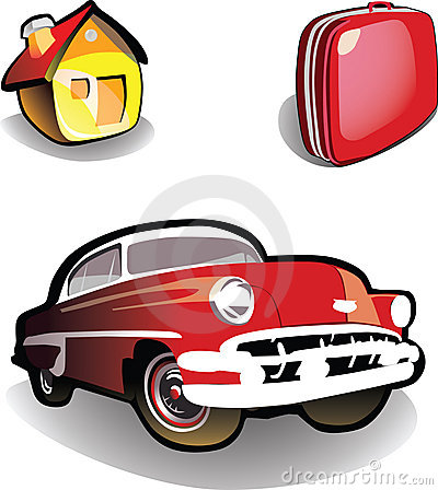 House, car, suitcase - icons