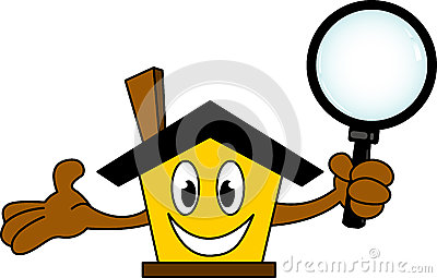 House cartoon holding magnifying glass