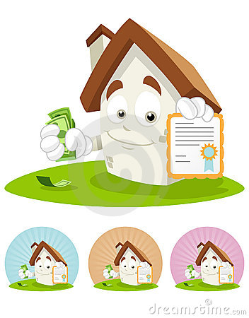 Free House Cartoon Mascot - Certificate Royalty Free Stock Images - 12219189