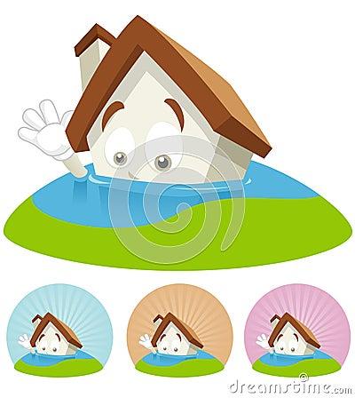 House Cartoon Mascot - Flooding