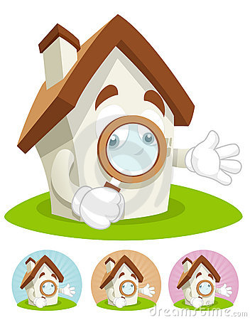 House Cartoon Mascot - magnifying glass