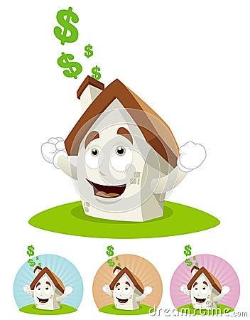 House Cartoon Mascot - sunning