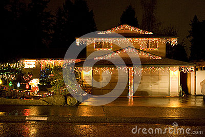 House with Christmas lighting