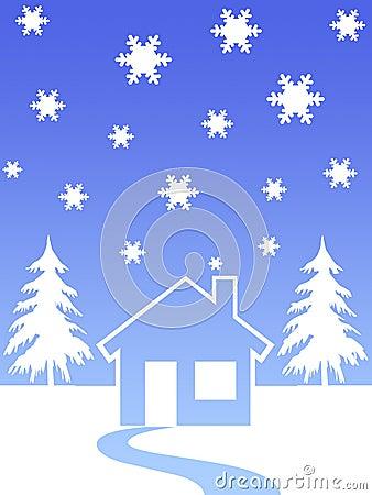 House and christmas trees