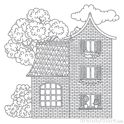 Free House Coloring Page Stock Photo - 85434730