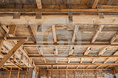 House construction wooden framing