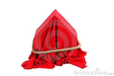 House coverd with red drapery